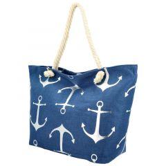 Velká moderní plážová taška tmavě modrá 21506