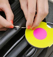 Jmenovka na kufr Addatag - Happy pink E-batoh