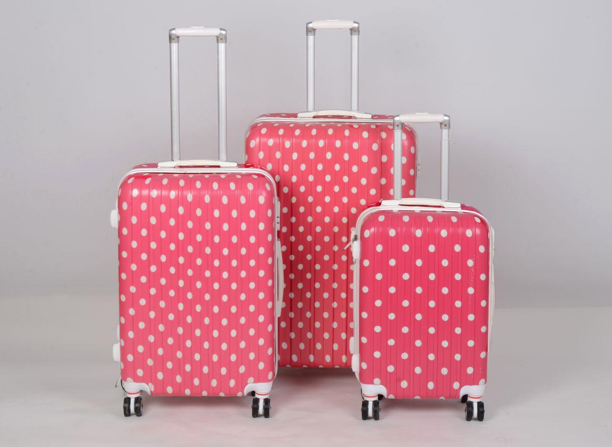 Cestovní kufry sada ABS Trolleykoffer TR-A15 pink-dot