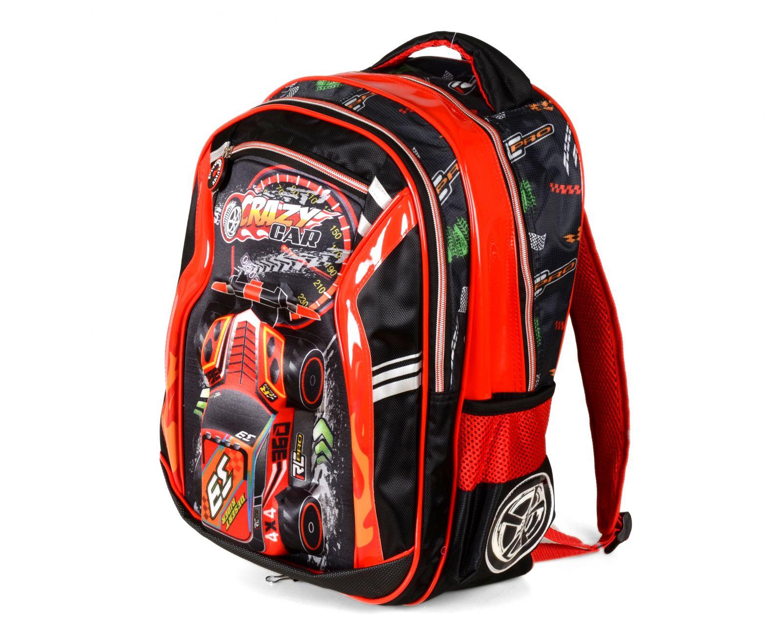 Školní batoh 3D obrázek CRAZY CAR RED