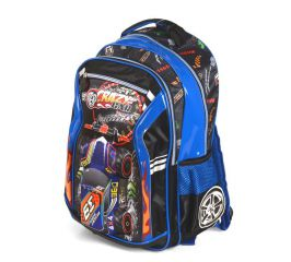 Školní batoh 3D obrázek CRAZY CAR BLUE