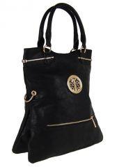Moderní kabelka do ruky se zlatými doplňky C005 černá